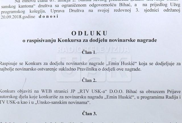 """RTVUSK: KONKURS ZA NOVINARSKU NAGRADU """"EMIN HUSKIĆ"""""""
