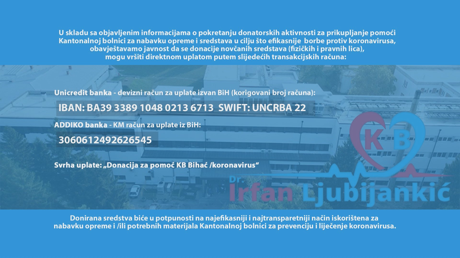 DONACIJA ZA POMOĆ KB DR IRFAN LJUBIJANKIĆ BIHAĆ / KORONAVIRUS