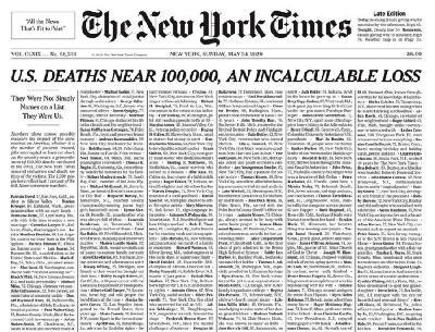 OMAŽ ŽRTVAMA: NA NASLOVNICI NEW YORK TIMESA ISPISANA IMENA UMRLIH OD KORONAVIRUSA